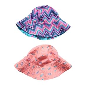 Lot of 2 Girl's Sun Hats Sizes 2-4 and 4-6X